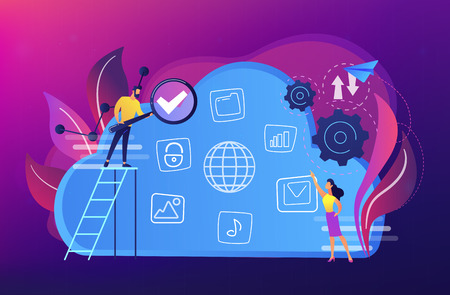 Two users searchig for big data in the cloud. Computing storage technology, large database, data analysis, digital information concept, violet palette. Vector isolated illustration. Çizim
