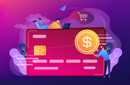 Credit card with dollar coin and users. E-commerce and online shopping, financial operations and plastic card, mobile payment and banking concept, violet palette. Vector isolated illustration.