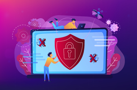 A man before laptop with shield and lock on the screen. Anti virus software, anti-malware, spyware, trojan, adware as internet security concept. Violet palette. Website landing web page template.