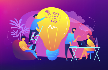 People working in friendly open space workplace. Coworking, freelance, teamwork, communication, interaction, idea, independent activity concept, violet palette. Vector illustration on background.
