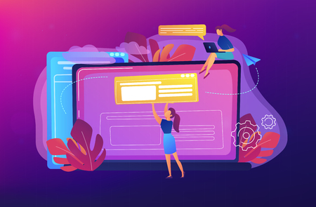 A girl makes a post on big laptop. Bloger is shareing information in weblog, online journal or informational website. Bloging and personal web log concept. Violet palette. Vector illustration.