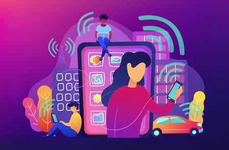 Personas que utilizan diferentes dispositivos electrónicos como teléfonos inteligentes, computadoras portátiles, tabletas. Campos de radio, contaminación electromagnética, concepto de radiación, paleta violeta. Ilustración de vector sobre fondo violeta.