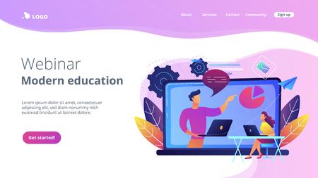 Student mit Laptop und Lektor am LCD-Bildschirm. Webinar und Landingpage für moderne Bildung. Web-Seminare, Webcasts und Peer-Level-Web-Meetings, violette Palette. Website-Landing-Webseite.