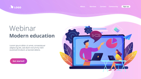 Student with laptop and lector at the LCD screen. Webinar and modern education landing page. Web seminars, webcasts and peer-level web meetings, violet palette. Website landing web page.