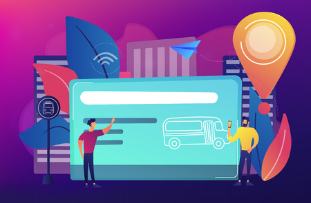 Bus travel card and users. Public transport pass, unlimited or pre-purchased trips, passenger card and transportation, transpot wireless payment concept, violet palette. Vector isolated illustration.
