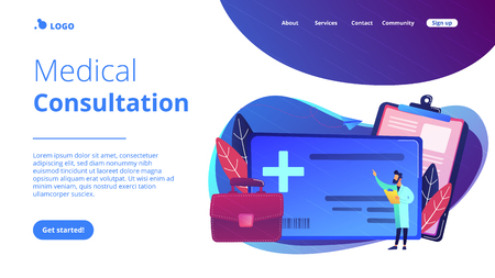 Healthcare smart card and doctor. Digital health and medical consultation, medical information smart card, healthcare organization card concept, violet palette. Website landing web page template.