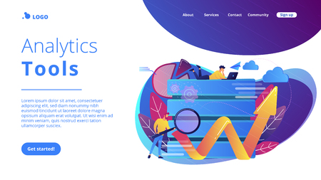Developer with magnifying glass working with big data and zigzag arrow. Digital analytics tools, data storage and software engineering concept, violet palette. Website landing web page template.