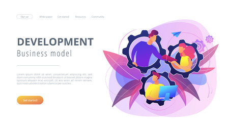 IT team members working as one mechanizm. Dedicated team - software development professionals engaged to the IT project. Business model in IT concept. Violet palette. Website landing web page template. Illustration