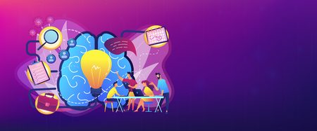 Business team working on project. Project management, business analysis and planning, brainstorming and research, consulting and motivation concept, violet palette. Header or footer banner. Illustration