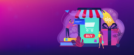 A couple near huge smartphone with buy icon on the screen make online purchases. Smart retail, retail mobility solutions, IoT and smart city concept, violet palette. Header or footer banner template. Stock Illustratie