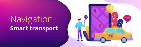 A man near huge smartphone with city map and gps tags on the screen calls a taxi. Navigation apps, smart public transport, IoT and smart city concept, violet palette. Header or footer banner template Illustration