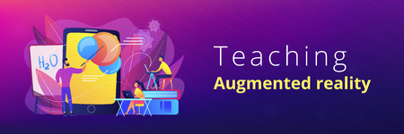 Professor teaching sudents science with help of tablet and augmented reality. Virtual reality, visual education, engaging teaching methods concept, violet palette. Header or footer banner. Illustration