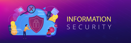 Man holding security shield and developer using laptop. Data and applications protection, network and information security, safe cloud storage concept, violet palette. Header or footer banner template