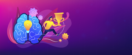 Brain with bulb and user carrying cup. Confidence and winning concept landing page. Challenge and move for success, motivation and goals achievement. Header or footer banner template. Illustration
