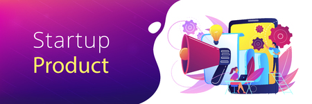Tablet with loudspeaker and team working on white paper. ICO investment document, startup business strategy, product development plan concept, violet palette. Header or footer banner.
