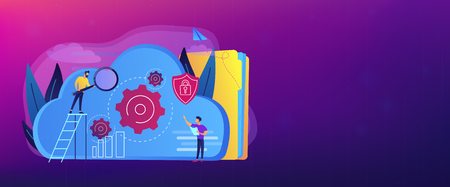 Two developers looking at the gears on the cloud. Digital data storage, database securiry, data protection, cloud technology concept, violet palette. Header or footer banner template. Illustration