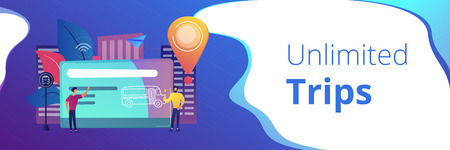 Bus travel card and users. Public transport pass, unlimited or pre-purchased trips, passenger card and transportation, transpot wireless payment concept, violet palette. Header, footer banner template Çizim