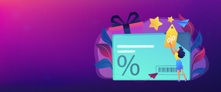 Discount card with percent sign and woman with discount tag. Loyalty program and customer service, retail and rewards card, loyalty points card concept, violet palette. Header, footer banner template. Vecteurs