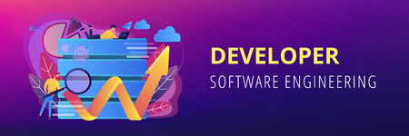 Developer with magnifying glass working with big data and zigzag arrow. Digital analytics tools, data storage and software engineering concept, violet palette. Header or footer banner template. Illustration