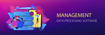 Developer using big data applications and tablet. Data processing software, database management and analysis, information privacy concept, violet palette. Header or footer banner template.