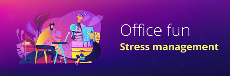 People in office working at the laptop, running presentation and playing golf as a concept of break, office fun, games and stress management. Violet palette. Header or footer banner template. Illustration
