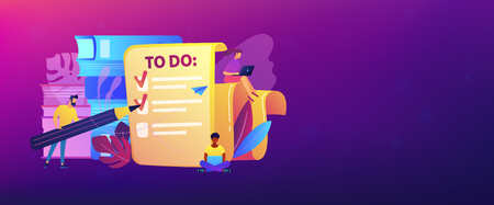 People feel in check boxes in to do list. Project task management it concept. Software development process and project management activities. Violet palette. Header or footer banner template. Stock Illustratie