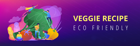 People taking care of vegetables. Healthy lifestyle landing page. Vegetarianism, vegetarian diet, meat abstaining, veggie recipe, eco friendly. Header or Footer banner template, copy space.