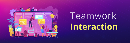 Team members moving cards on large kanban board. Teamwork, communication, interaction, business process, agile project management concept, violet palette. Header or footer banner template. Vectores