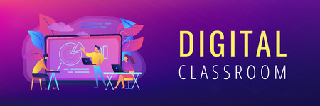 Students with laptop and lector in front of interactive board. Digital classroom landing page. Blended learning and smart classroom, modern education. Header or Footer banner. Illustration