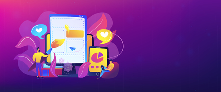 People drawing web page elements on the smartphone and LCD screen. Front end development it concept. Software development process. Violet palette. Header or footer banner template.