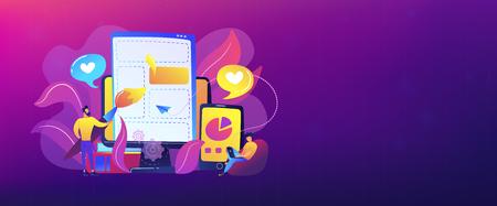 Personas que dibujan elementos de páginas web en el teléfono inteligente y la pantalla LCD. Concepto de desarrollo de interfaz de usuario. Proceso de desarrollo de software. Paleta violeta. Plantilla de banner de encabezado o pie de página.