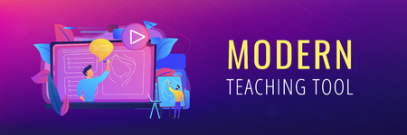 A man with easel before screen with video learning how to draw a portrait. Education video, modern teaching tool and interactive learning concept. Violet palette. Header or Footer banner.