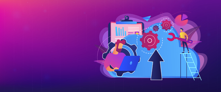 Developer working on laptop with cloud data. Computing applications, developing cloud system, cloud resourses solving business problems concept, violet palette. Header or footer banner template.