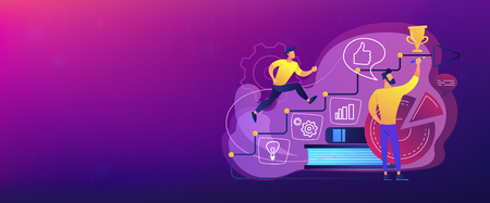A man running up to the hand drawn stairs as a concept of coaching, business training, goal achievment, success, progress, carreer ladder, violet palette. Header or footer banner template. Illustration