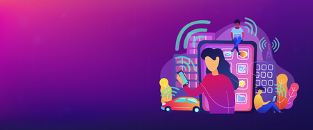 People using different electronic devices such as smartphone, laptop, tablet. Radio fields, electromagnetic pollution, radiation concept, violet palette. Header or Footer banner template. Stock Illustratie
