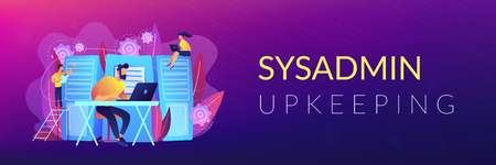 System administrators or sysadmins are servicing server racks. System administration, upkeeping, configuration of computer systems and networks concept. Violet color. Header or footer banner template. Illustration