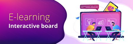Students with laptops sitting behind interactive board with data. Digital, mobile, e-learning, flipped class, smart classroom. Modern education and virtual learning. Header or Footer banner template.