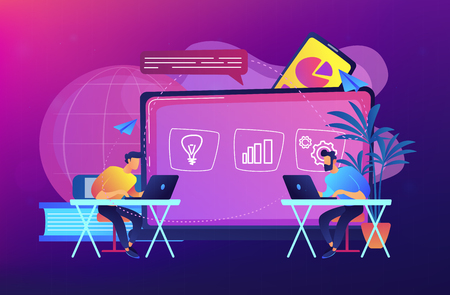 Students with laptops sitting behind interactive board with data. Digital, mobile, e-learning, flipped class, smart classroom. Modern education and virtual learning concept. Vector illustration.
