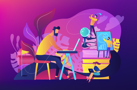 People in office working at the laptop, running presentation and playing golf as a concept of break, office fun, games and stress management. Violet palette. Vector illustration on background.