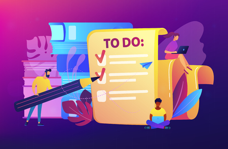 People feel in check boxes in to do list. Project task management it concept. Software development process and project management activities. Violet palette. Vector illustration on white background