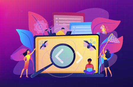 People catching bugs on the laptop screen with angle brackets. IT software application testing, quality assurance, QA team and bug fixing concept. Violet palette. Vector illustration on background.