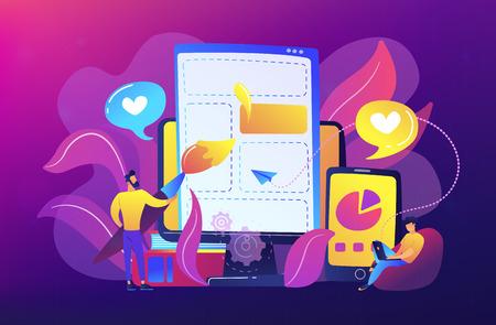 Personnes dessinant des éléments de page Web sur le smartphone et l'écran LCD. Développement frontal il concept. Processus de développement logiciel. Palette violette. Illustration vectorielle sur fond blanc