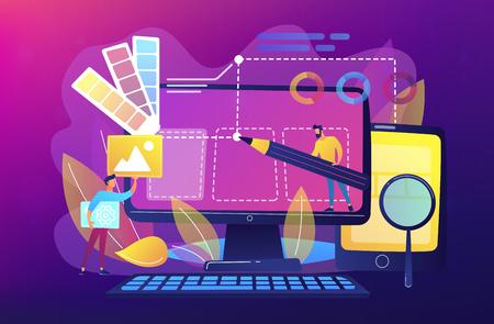 Ontwerpers werken aan het ontwerpen van webpagina's. Webdesign, User Interface UI en User Experience UX content organisatie. Web ontwerp ontwikkelingsconcept. Violet palet. Vector illustratie Vector Illustratie