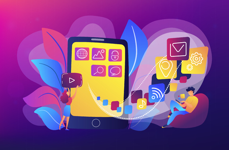 It professionals are creating mobile applications on the smartphone screen. Mobile app development, coding designing for smartphones or tablets concept. Violet palette. Vector illustration