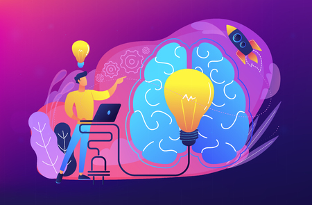 A man in workplace with laptop, big light bulb, rocket and human brain. Idea, start up launching, business success, brainstorm concept, violet palette. Vector illustration on white background