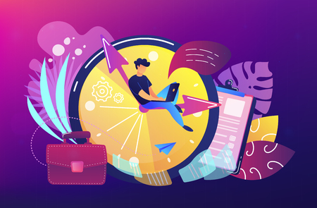 A freelance developer sitting on the clock hands with a laptop. Time management, productivity, efficiency, work rate, perfomance concept, violet palette. Vector illustration on white background. Illustration