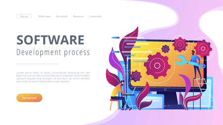 People configure the application on the big LCD screen with gears. Back end development it concept. Software development process. Violet palette. Back-end concept. Website landing web page template. Çizim