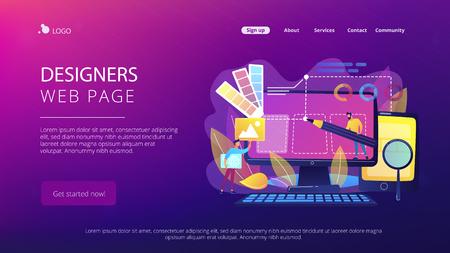 Los diseñadores están trabajando en el diseño de la página web. Diseño web, interfaz de usuario UI y organización de contenido User Experience UX. Concepto de desarrollo de diseño web. Plantilla de página web de aterrizaje del sitio web.