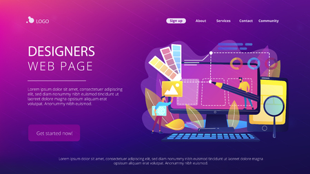 Designers are working on the desing of web page. Web design, User Interface UI and User Experience UX content organization. Web design development concept. Website landing web page template.
