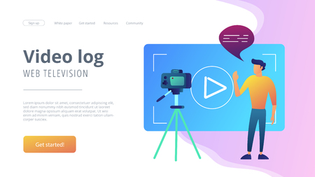 A man in front of camera recording a video to share it in internet. Vloger shares a bradcast in blog or video log. Video bloging, web television or embedded video concept. Website landing web page. Stock fotó - 109817401